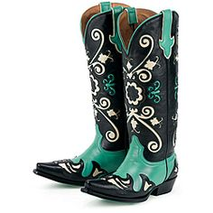 @Overstock - Handcrafted Lane cowboy boots add Western flair to a casual outfit. The mid-calf Margaret boots are made of black, ivory, and turquoise distressed leather. They have pointed toes, low heels designed for dancing, and padded foot beds for comfort.http://www.overstock.com/Clothing-Shoes/Lane-Boots-Womens-Black-Margaret-Cowboy-Boots/6322189/product.html?CID=214117 $171.99