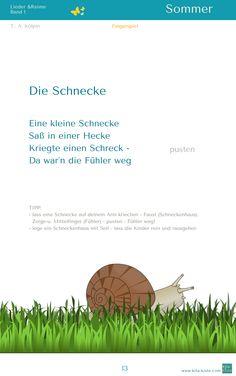 """""""Die Schnecke"""" - Fingerspiel - aus """"Lieder & Reime 1"""" - www.kitakiste.jimdo.com"""