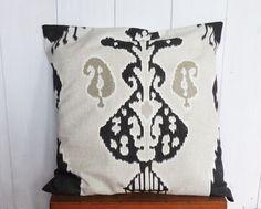 Housse de coussin 60 x 60 cm motifs IKAT amérindiens GRIS de la boutique SIHUbijoux sur Etsy