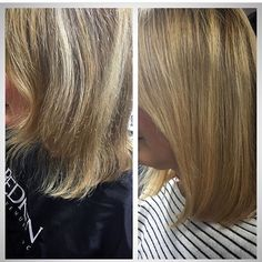Hippy tips are perfect for adding thickness to fine, short hair, just look at this transformation by - to find out more call us on 0844 445 7889 Hippy, Hair Extensions, Salons, That Look, How To Find Out, Short Hair Styles, Beauty, Weave Hair Extensions, Bob Styles