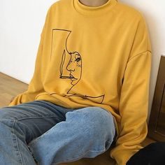 aesthetic soft grunge clothes smoke girl sweatshirt boogzel apparel #Yellow