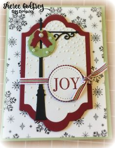 Brightly Lit Christmas Stampin' Up By: Sheree Godfrey Christmas Light Pole, Christmas Lamp Post, Christmas Lanterns, Christmas Signs, Stampin Up Christmas, Christmas Cards To Make, Handmade Christmas, Halloween Cards, Homemade Cards