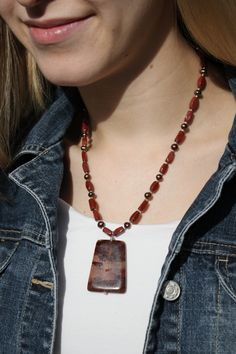Sterling Silver, Autumn/Fall Harvest Red Jasper Gemstone & Pearls Handmade Short Natural Stone Necklace w Large Agate Pendant~FREE shipping by studiogracie on Etsy