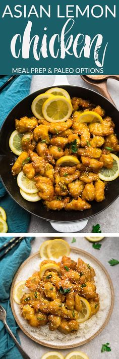 Asian Lemon Chicken – an easy homemade 30 minute version of the popular Chinese Takeout-Style Lemon Chicken. With a light and crispy coating covered in a flavorful sweet, savory and tangy lemon sauce. With gluten free & paleo options. Great for Sunday meal prep for work or school lunchboxes and lunch bowls.  #lemon #chicken #dinner #mealprep #chinesefood #takeoutfakeout
