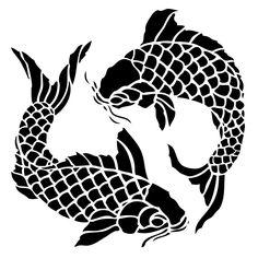 Scrapbook stencils stencil collection koi fish embossing for Koi fish stencil