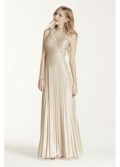 Sleeveless V-Neck Pleated Dress with Illusion Back 422582 $39.99