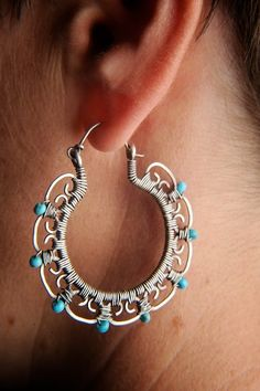 Leela Hoop Earrings in Sterling Silver with Turquoise. $275.00, via Etsy.