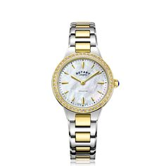 Rotary Rotary Mother Of Pearl And Gold Detail Crystal Set Dial Two Tone Stainless Steel Bracelet Ladies Watch in One Colour Stainless Steel Bracelet, Stainless Steel Case, Two Tones, Occasion Wear, Mother Pearl, Rotary, Michael Kors Watch, Quartz, Pearls