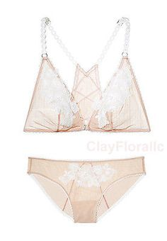 1087db7aaa Victoria s Secret Dream Angel Embroidered Bralette Bra set white nude mesh  panty