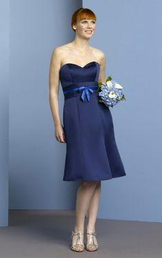 Unique Princess Knee-length Sweetheart Royal Blue Satin Dress