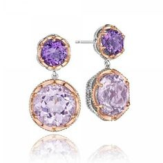 Tacori Blushing Rose Amethyst & Rose Amethyst Earrings ($1,300) ❤ liked on Polyvore featuring jewelry, earrings, rose earrings, amethyst charm, rose jewelry, tacori jewelry and earring jewelry