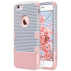iPhone 6 Plus Coque 5.5 Pouce, ULAK Coque Housse de Protection Anti-choc Matériaux Hybrides en Silicone Souple et PC dur Coque pour Apple iPhone 6 Plus /6s Plus 5.5 Pouce (Or Rose Stripes)