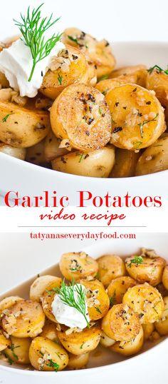 Pan-Seared Garlic Potatoes - Tatyanas Everyday Food