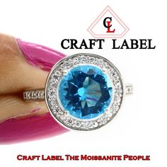 """1.50 Ct Round Brilliant Cut Blue Topaz 14K Gold Halo Engagement Ring """"Mother\'s Day Gift"""". Starting at $1"""