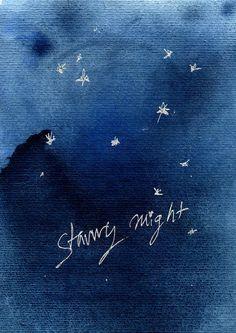 Starry night art print indigo blue Sapphire blue by TheJoyofColor #rockteam #rockaroundeurope #etsyfind
