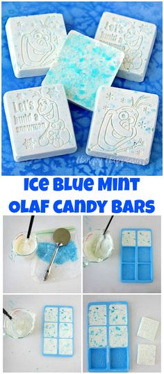 Ice Blue Mint Bark Olaf Candy Bars are simple to make using a Wilton Disney Frozen Silicone Mold. Just 2 ingredients is all you need to create these fun Frozen Party favors or treats. See the tutorial at HungryHappenings.com.