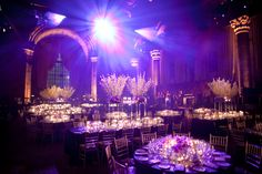 Sara and Scott's Wedding at Cipriani 42nd Street by Lindsay Landman Events. Photo by @douglasbenedict #LLEvents #purple #wedding #reception #tablescape #floral #arrangement #flower #centerpiece