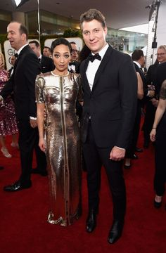 Inside the Golden Globes: Ruth Negga in Louis Vuitton and Jeff Nichols 74th Golden Globe Awards, Golden Globes, Celebrity Red Carpet, Celebrity Style, Jeff Nichols, High Fashion, Mens Fashion, Red Carpet Ready, Awards 2017