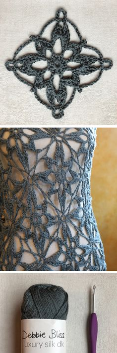 Star Flower Crochet Motif - Free Pattern - Mezzacraft - Sharing the Art of Crochet Crochet Motif Patterns, Crochet Headband Pattern, Crochet Squares, Picot Crochet, Crochet Lace, Crochet Stitches, Crochet Bracelet, Crochet Clothes, Crochet Flowers