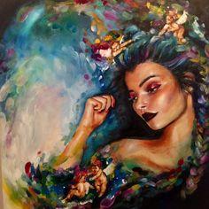 Athena (original) by katy jade dobson 스케치 винсент ван гог, к Oil Painting Abstract, Watercolor Art, Arte Pop, Wildlife Art, Female Art, Art Inspo, Fantasy Art, Art Projects, Art Drawings