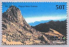 """Papua New Guinea 2002, Mount Wilhelm. The stamp was issued in honour of the """"International Year of Mountains""""."""