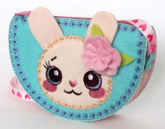 INSTANT DOWNLOAD Kawaii Bunny Bag for Girls In The Hoop Project Machine Embroidery Design ITH001