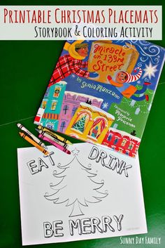 Free Printable Christmas Placemats! Based on the new Christmas book for kids, Miracle on 133rd Street, these free Christmas coloring pages are a fun holiday craft for kids.