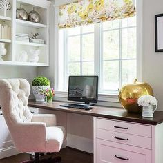Home Office with Wood Top Built In Desk and Hot Pink Overdyed Rug