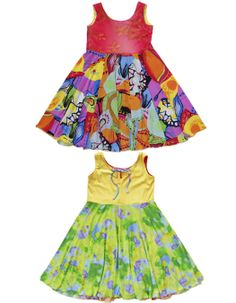 Girls casual dresses from TwirlyGirl.  This style is our Original Reversible Twirly Dress.  Two dresses in one!  $78