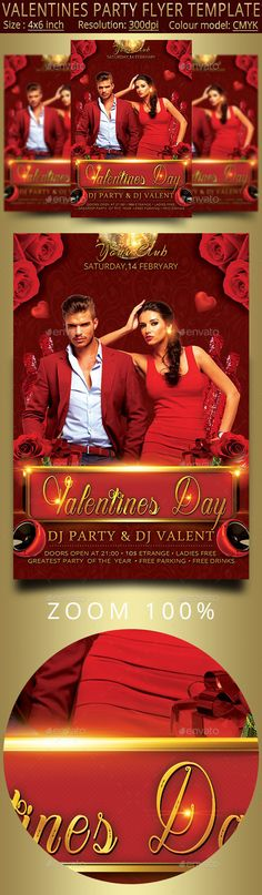 """Valentines Party Flyer Template100 PSD files fully layered. Drawn in Photoshop CC. Size: 4x6""""   0.25in bleed Resolution: 300dpi Colour model: CMYKModel image not included. In addition to basic file inside download:The link to the image of the model. Instructions for adding an image model. Inscription Fonts used.Inscription Fonts used:Arizonia Open"""