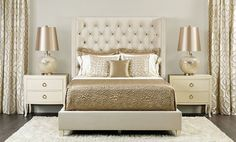 Gold and cream bedroom - so glamorous!