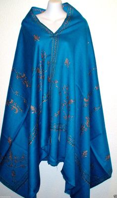 100% Pure New Wool Woolen Blue Hand Embroidered Kashmir Sozni Embroidery Large Shawl