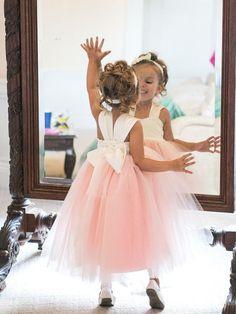 Adorable A-line Pink Long Tulle Flower Girl Dress
