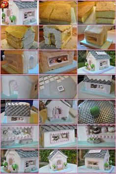 step by step house cake - this is awesome! Cake Decorating Techniques, Cake Decorating Tutorials, Cookie Decorating, Decorating Supplies, Deco Cupcake, Cupcake Cakes, House Cake, Cake Shapes, Sculpted Cakes