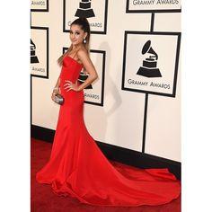 Ariana Grande Red Mermaid Spaghetti Straps Evening Dress 2016 Grammy Awards