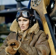 """ursula andress, swiss actress and sex symbol. most known for her role as the """"bond girl"""". She won a Golden Globe for James Bond Dr. Ursula Andress, Style Board, Steampunk, What's New Pussycat, Female Pilot, Aviator Jackets, Mode Vintage, Photo Instagram, Dieselpunk"""