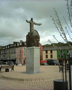 Statue of St Brendan in his boat in the square at Bantry. Ireland