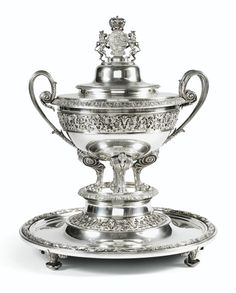 A LARGE AUSTRIAN SILVER SOUPTUREEN, LINER AND STAND, JOSEPH CARL KLINKOSCH, VIENNA, CIRCA 1860, APPLIED WITH THE ARMS OF PRINCES COLLOREDO-MANSFELD