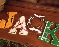 Sports Fan Large Wooden Letters Customized Football Baseball Soccer basketball Hand Painted Boys Birls Bedroom Wall Hanging Door Decor