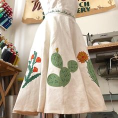 Appliquéd chainstitch embroidery skirt by Tina Vines