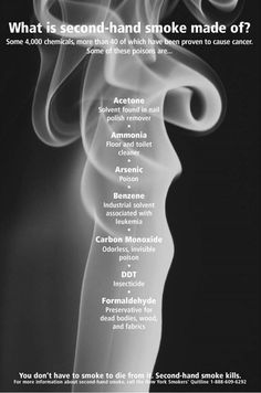 ❥ Major Poisons in Second-Hand Smoke // Also a major trigger for Rheumatoid Disease, whether you are smoking or just exposed to it second-hand.