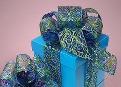 "2 1 2"" x 10Y Glitter Peacock Ribbon Ribbon Crafts Wreaths Wrapping | eBay"