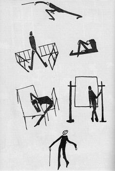 zenderoglu:    Franz Kafka's personal sketches he did for 'The Trial'  taken from a much older edition I have of this book, sadly the publication date is no where to be found.