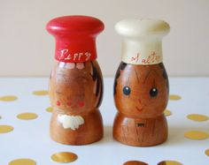 Vintage Wooden Salt and Pepper Shaker Set. Salty and Peppy. Tea Service, Kitchenware, Pepper, Dips, Chrome, Salt, Retro, Silver, Handmade