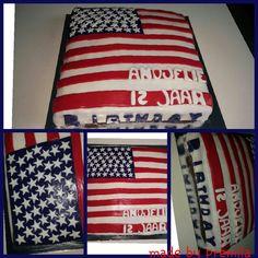 Redvelvet amerikaanse vlag taart