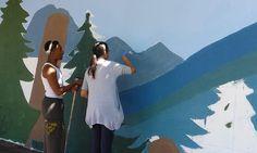The mural in progress.