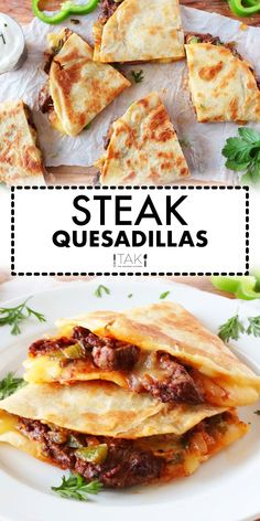 This steak quesadillas recipe made with steak, cheese, and flour tortillas is the perfect quick fix Mexican dinner idea! Use sirloin steak or leftover steak — whatever you have on hand is fine! Easy and kid-friendly, this dish can be served as an appetizer or as a quick fix dinner idea!