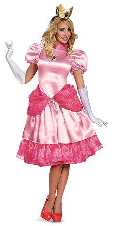 Princess Peach Deluxe Ladies Costume - Arrive at your next costume party, Halloween party, or answer the door to hand out candy to the neighbor kids in this cute-yet-sassy Princess Peach costume! As all Mario Bros. fans know, Princess Peach is the Nintendo character who truly has it going on...she is lovely in her pink attire as she alternates between a damsel-in-distress and a feisty blond who isn't afraid to fight off the bad guys when needed.