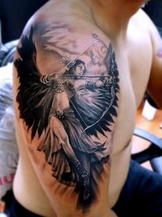 Tattoo angel portrait with bow #Tattoo, #Tattooed, #Tattoos