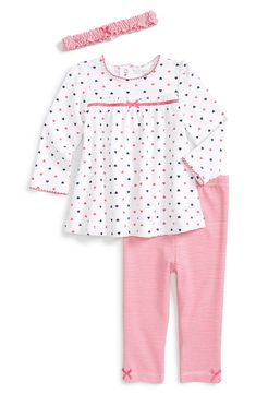 Little Me 'Cute Hearts' Tunic, Leggings & Headband (Baby Girls) Pajama Outfits, Toddler Outfits, Kids Outfits, Baby Girl Dress Patterns, Little Girl Dresses, Little Girl Fashion, Kids Fashion, Tunic Leggings, Striped Leggings
